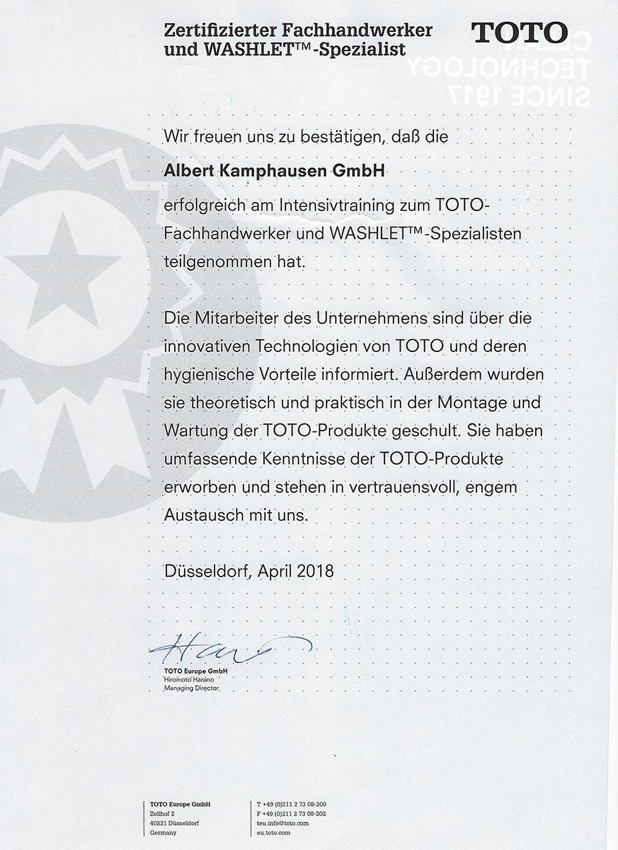 TOTO Zertifikat